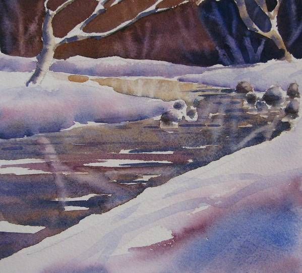 Watercolor Poster featuring the painting Winter Creek by Chito Gonzaga