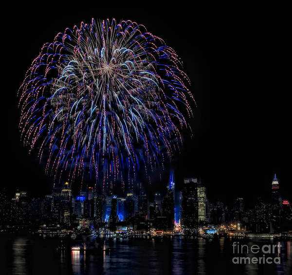 4th Of July Poster featuring the photograph Fireworks In New York City by Susan Candelario