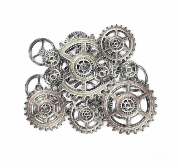 Cogwheel Poster featuring the mixed media Sketch Of Machinery by Michal Boubin
