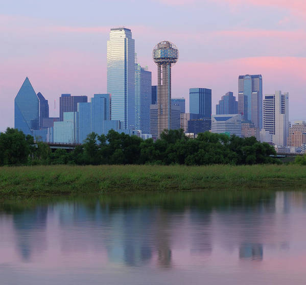 Horizontal Poster featuring the photograph Trinity River With Skyline, Dallas by Michael Fitzgerald Fine Art Photography of Texas