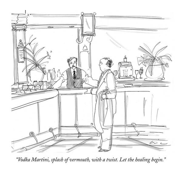 Dining Poster featuring the drawing Vodka Martini by Richard Cline
