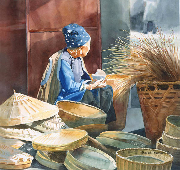 China Poster featuring the painting Basket Maker by Sharon Freeman