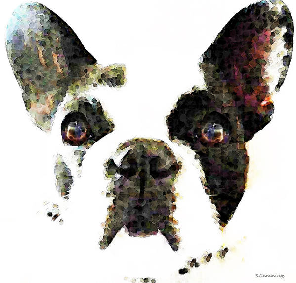 French Bulldog Poster featuring the painting French Bulldog Art - High Contrast by Sharon Cummings