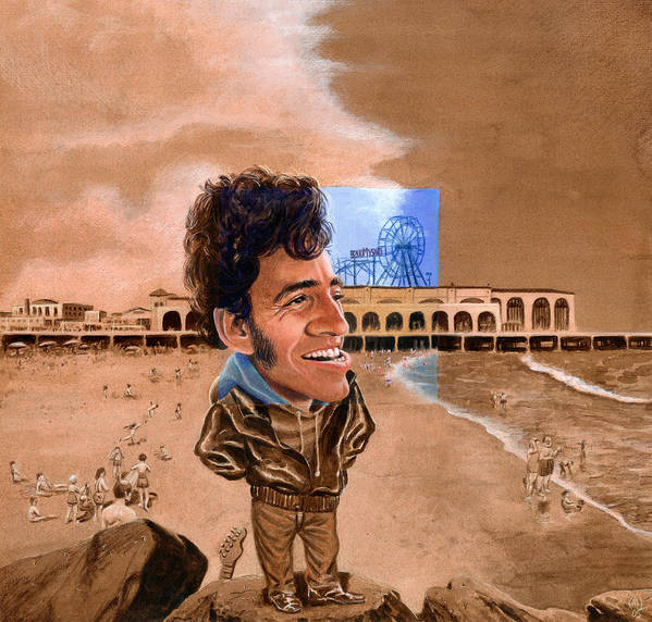 Bruce Springsteen Poster featuring the painting Springsteen On The Beach by Ken Meyer jr