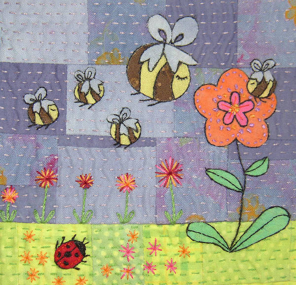 Whimsical. Boho Poster featuring the tapestry - textile Beeing Happy by Julie Bull