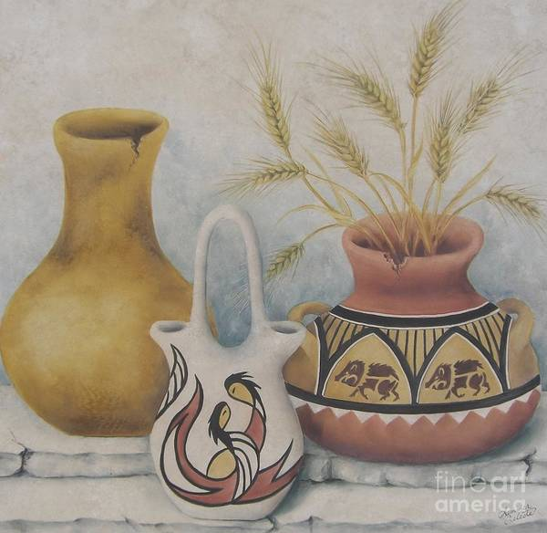 Indian Poster featuring the painting Indian Pots by Summer Celeste