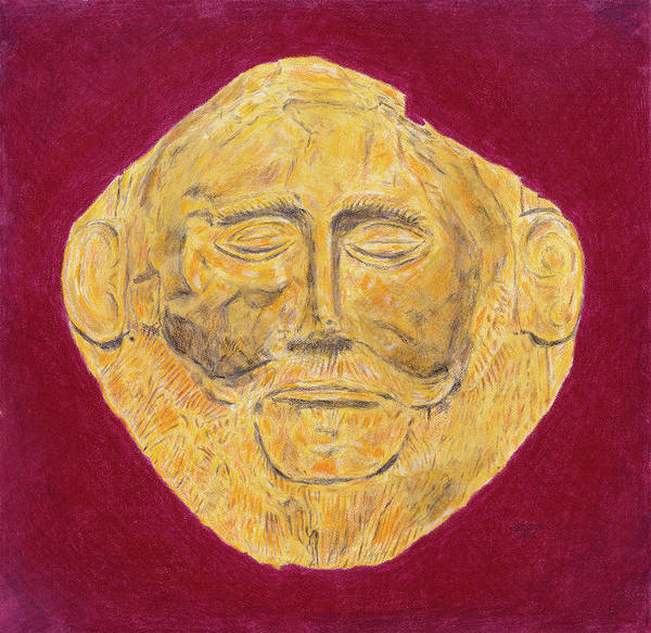 Mask Of Agamemnon Poster featuring the painting Mask Of Agamemnon by Dennis Larson