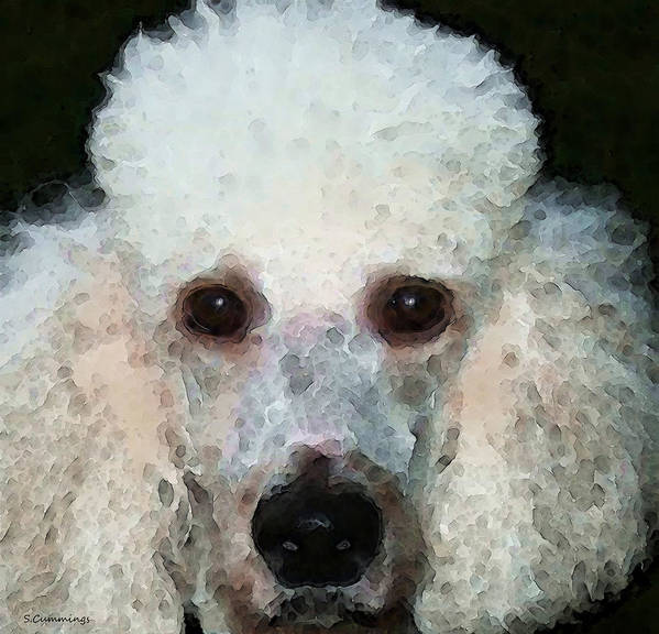 Poodle Poster featuring the painting Poodle Art - Noodles by Sharon Cummings