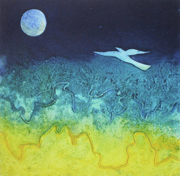 Collagraph Print Poster featuring the mixed media Soaring Into The Blue by Susanne Clark
