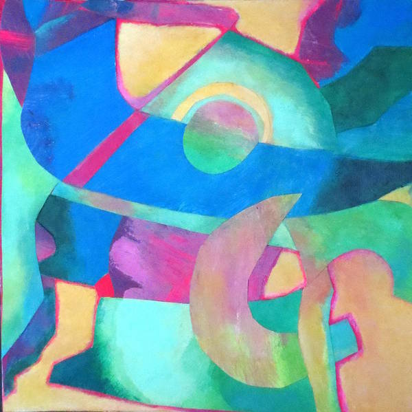 Abstract Expressionism.acrylic Collage Poster featuring the mixed media Harmony In G by Diane Fine