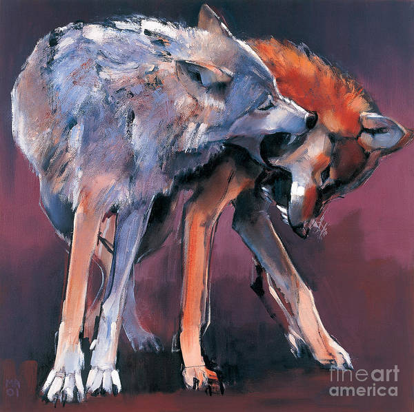 Two Wolves Poster featuring the painting Two Wolves by Mark Adlington