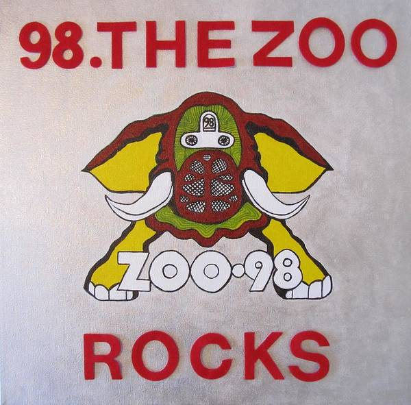 Elephant Pictures Posters Greeting Cards Prints Art Prints Poster featuring the painting 98.the Zoo Rocks by Donna Wilson