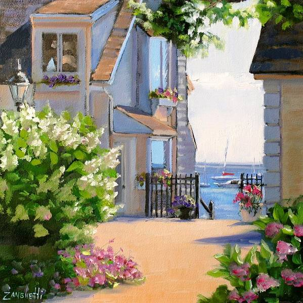 Seascape Poster featuring the painting A Cape Cod Paradise by Laura Lee Zanghetti