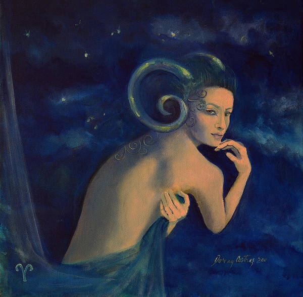 Art Poster featuring the painting Aries From Zodiac Series by Dorina Costras