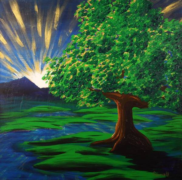 Tree Poster featuring the painting Arise Shine by Gary Rowell