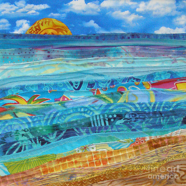 Beach Poster featuring the tapestry - textile At The Water's Edge by Susan Rienzo