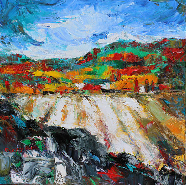 Oil Poster featuring the painting Autumn Field by Becky Kim
