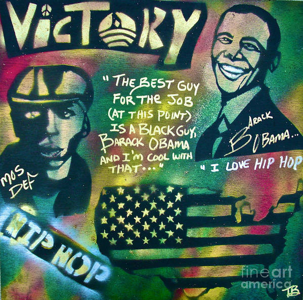 Barack Obama Poster featuring the painting Barack And Mos Def by Tony B Conscious