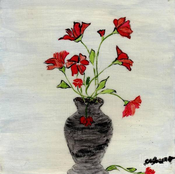 Acrylic Poster featuring the painting Beautiful Red Flowers by Shirley Barone