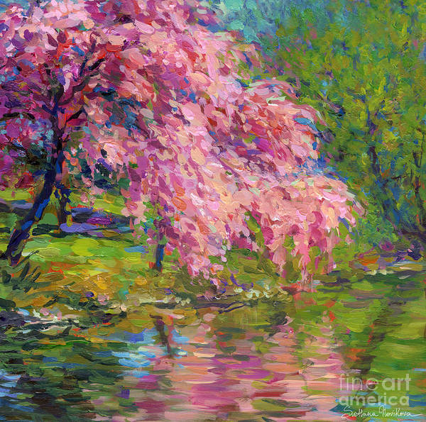 Blossoming Tree Painting Poster featuring the painting Blossoming Trees Landscape by Svetlana Novikova