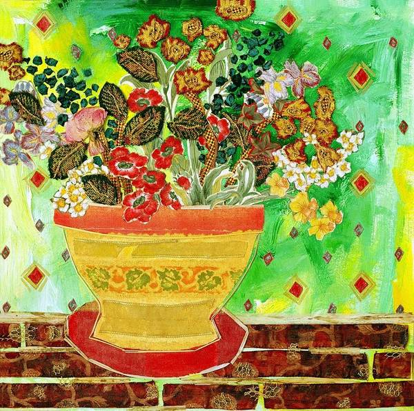 Flowers In A Vase Poster featuring the mixed media Bric A Brac by Diane Fine