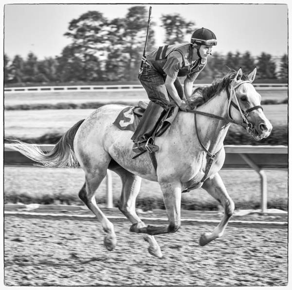 Thoroughbred Horse Jockey Beulah Park Ohio Warm-up Workout Work Out Morning Race Track Racetrack Poster featuring the photograph Carousel Horse 2 by Richard Marquardt