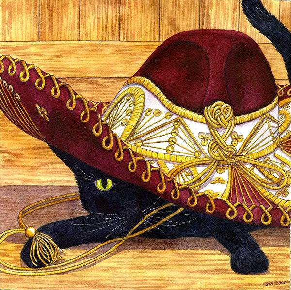 Cat Poster featuring the painting Cinco De Mayo by Catherine G McElroy