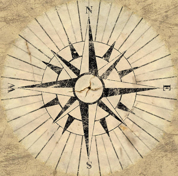 Aged Poster featuring the digital art Compass Face by Allan Swart