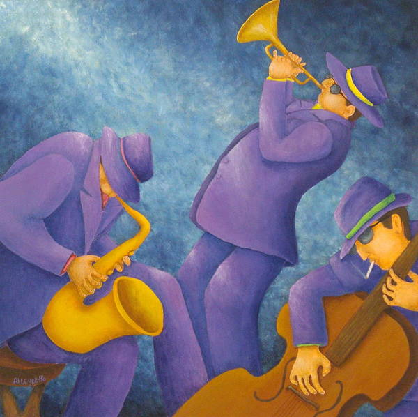 Pamela Allegretto Poster featuring the painting Cool Jazz Trio by Pamela Allegretto