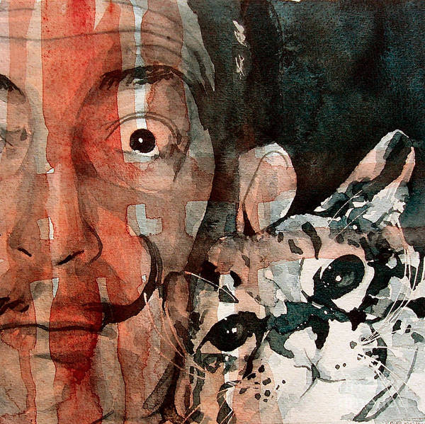 Salvador Dali Poster featuring the painting Dali And His Cat by Paul Lovering