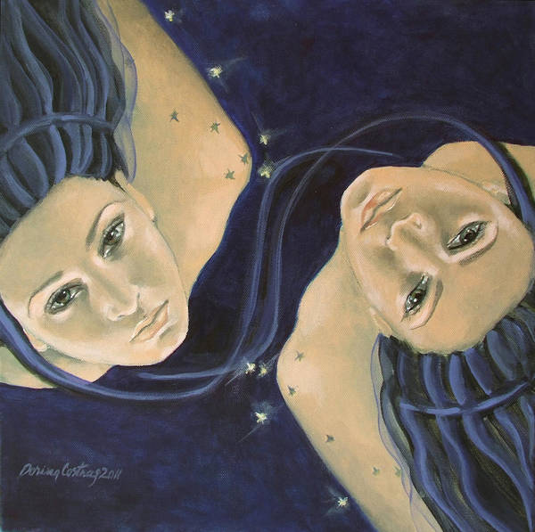 Constellation Poster featuring the painting Gemini From Zodiac Series by Dorina Costras