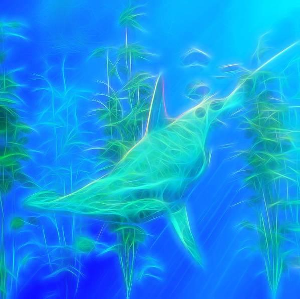 Hammerhead Shark Poster featuring the digital art Glowing Hammerhead Shark by Daniel Eskridge