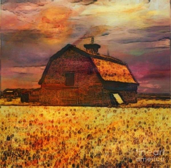 Golden Wheat Sunset Barn Painting Poster featuring the painting Golden Wheat Sunset Barn by PainterArtist FIN