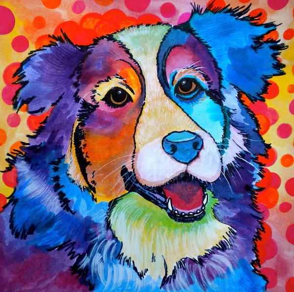 Dog Poster featuring the painting Happy Scout by Debi Starr