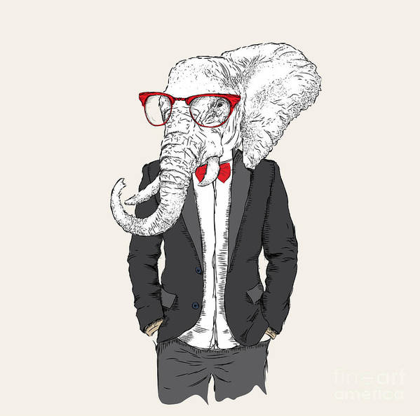 Heat Poster featuring the digital art Illustration Of Elephant Hipster by Sunny Whale