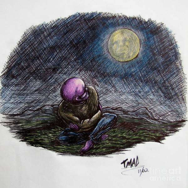 Indigo Night Poster featuring the drawing Indigo Night by Michael TMAD Finney