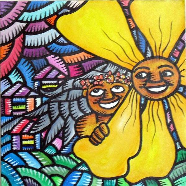 Northern Mariana Islands Poster featuring the painting Island Girl And Sun Flower by Marconi Calindas