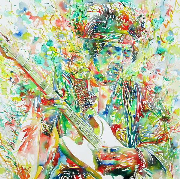 Jimi Poster featuring the painting Jimi Hendrix Playing The Guitar Portrait.1 by Fabrizio Cassetta