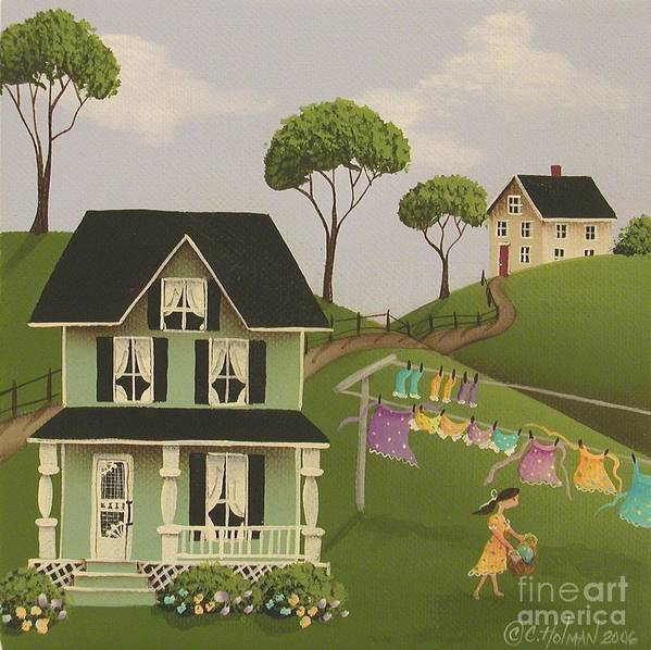 Art Poster featuring the painting Laundry Day by Catherine Holman
