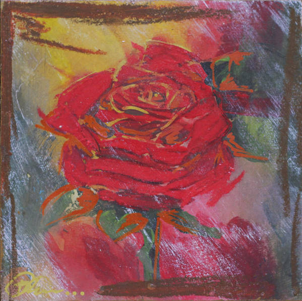 Floral Poster featuring the mixed media Love Red by Bhreon Bynum