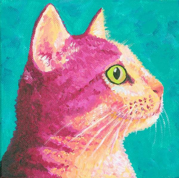 Pink Poster featuring the painting Magenta Kitty by Theresa MacLean