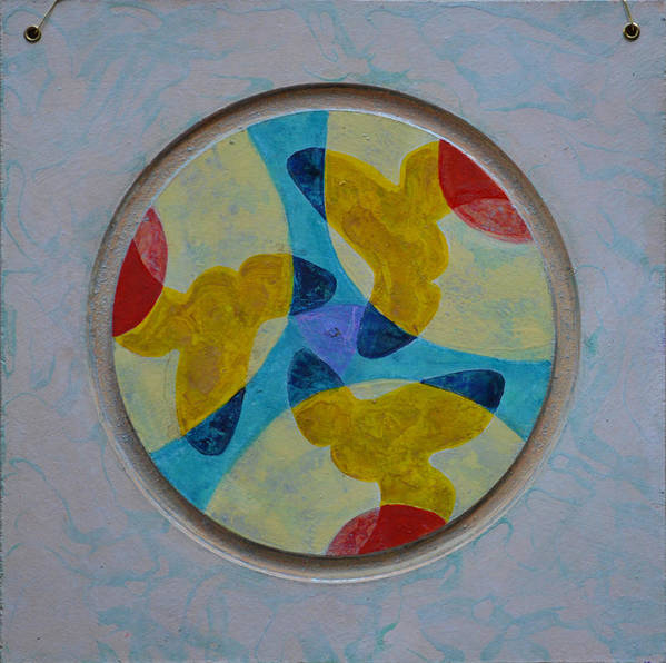 Mandala Round Circle Yellow White Blue Red Outsider Thirds Abstract Modern Raw Folk Poster featuring the painting Mandala 4 Ready To Hang by Nancy Mauerman