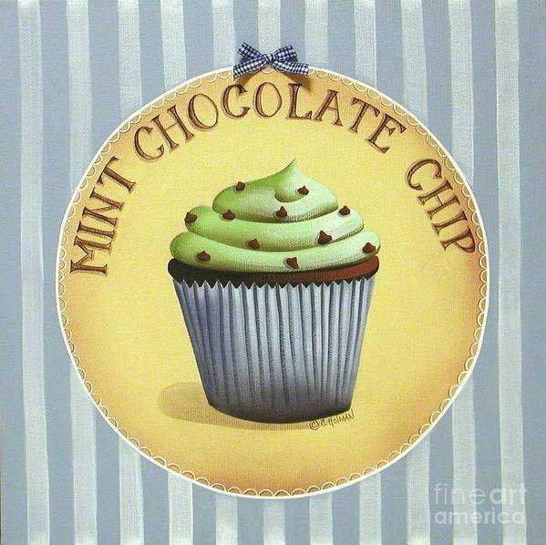 Art Poster featuring the painting Mint Chocolate Chip Cupcake by Catherine Holman