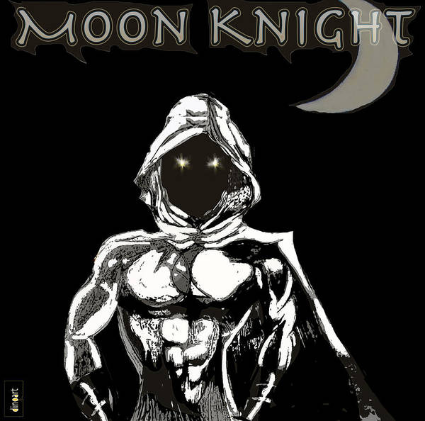 Superhero Art Poster featuring the digital art Moon Knight The White Knight by Jazzboy