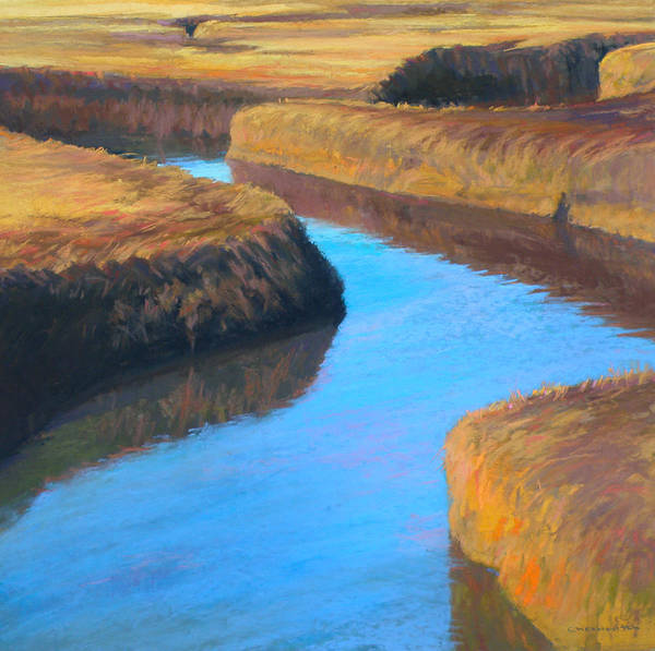 Salt Marsh Poster featuring the painting Mudflats Maze by Ed Chesnovitch