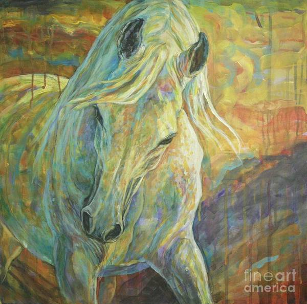 Horse Poster featuring the painting Opal Dream by Silvana Gabudean