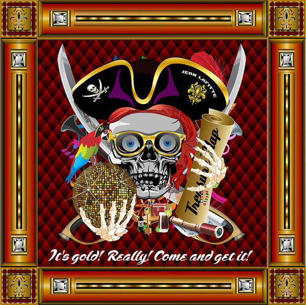Ahoy Poster featuring the digital art Pirate Mardi Gras Version 1 Vector Sample by Bill Campitelle