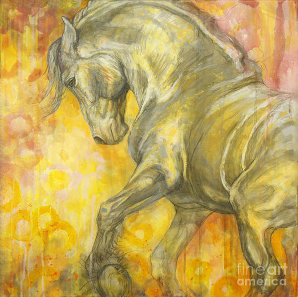 Horse Poster featuring the painting Playful Joy by Silvana Gabudean Dobre