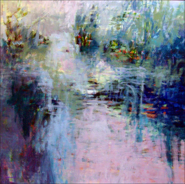 Landscape Poster featuring the painting Pond Grasses by Dale Witherow