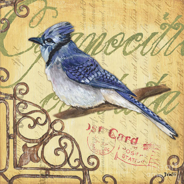 Blue Jay Poster featuring the painting Pretty Bird 4 by Debbie DeWitt